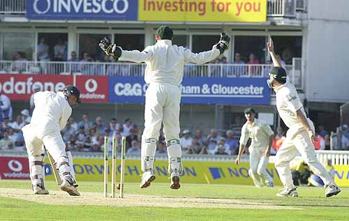 A fairly representative image of my childhood Ashes memories, as Atherton is cleaned up by Shane Warne... Again...