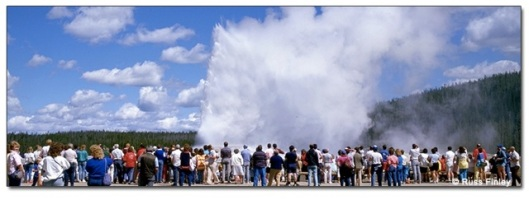 Old Faithful Geyser- Hundreds of unwarranted spectators turn up hourly to applaud mother natures weakest achievement (not sure about the quality of this image-it's from Google Images though so not exactly authentic)
